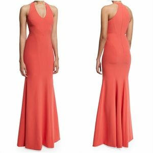 NWT Theia Coral V-Neck Crepe Mermaid Gown Dress